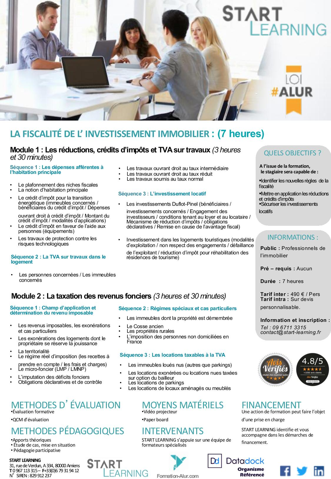 Programme Formation alur agents immobiliers - Fiscalité (1J)