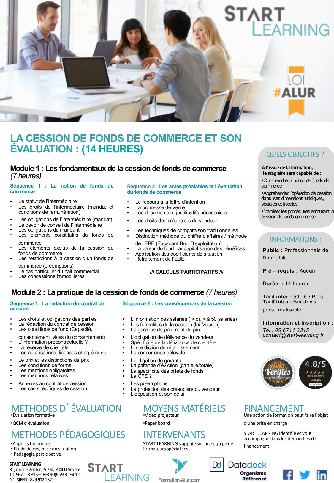 Programme Formation alur agent immobilier - Fonds de commerce (2J)