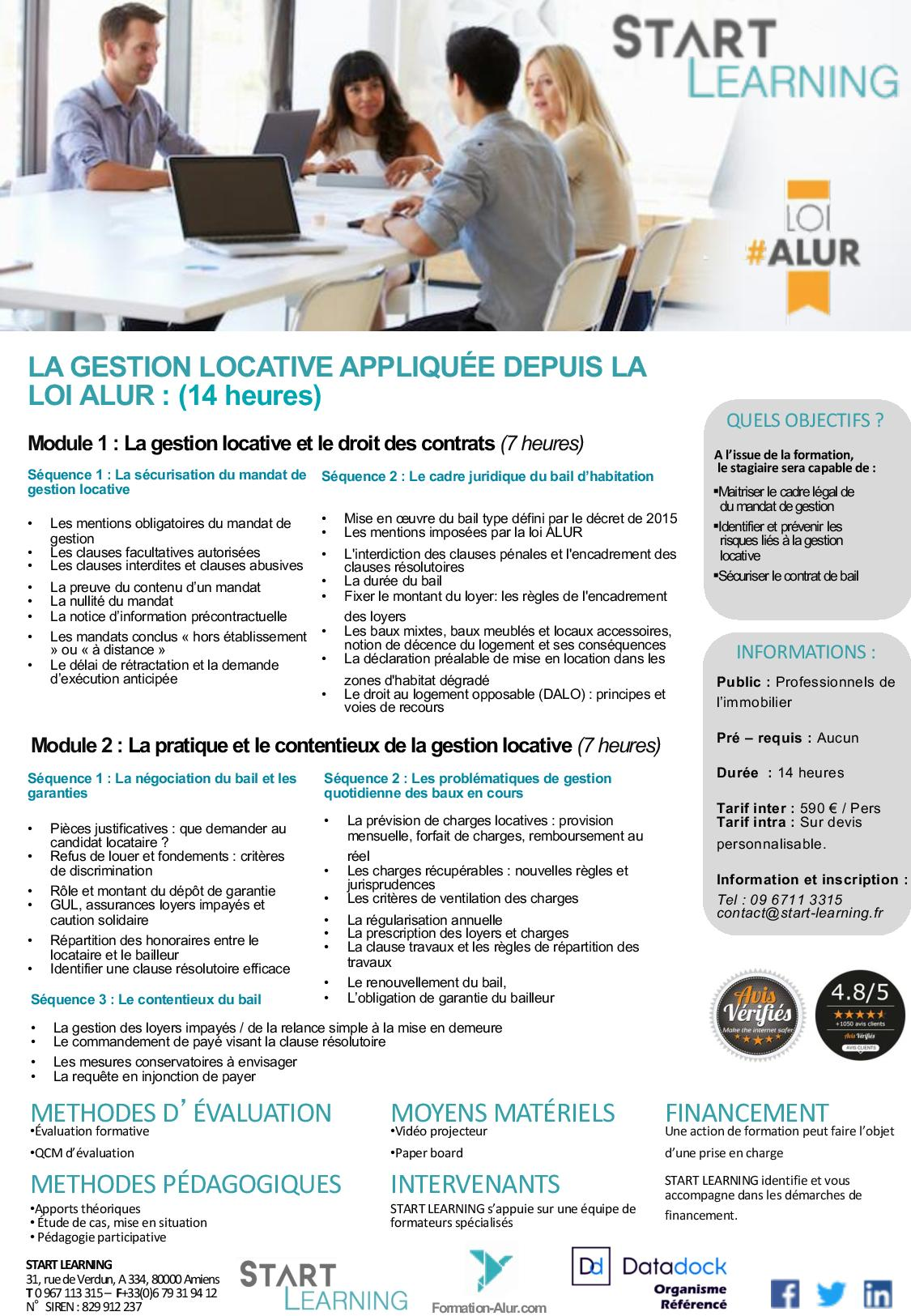 Programme Formation alur agents immobiliers - Gestion locative (2J)
