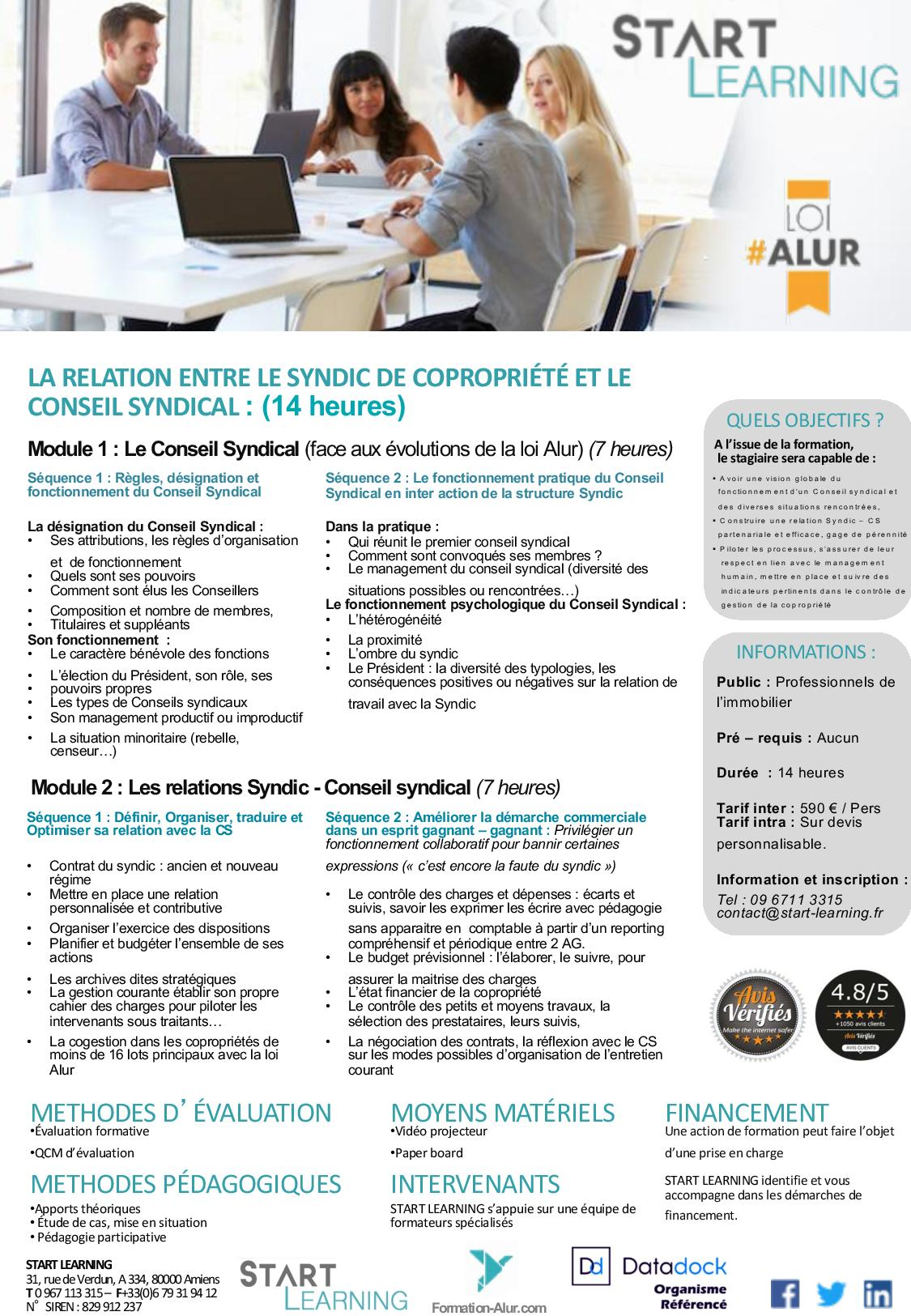 Programme Formation alur agent immobilier - Relation Syndic et Conseil Syndical (2J)