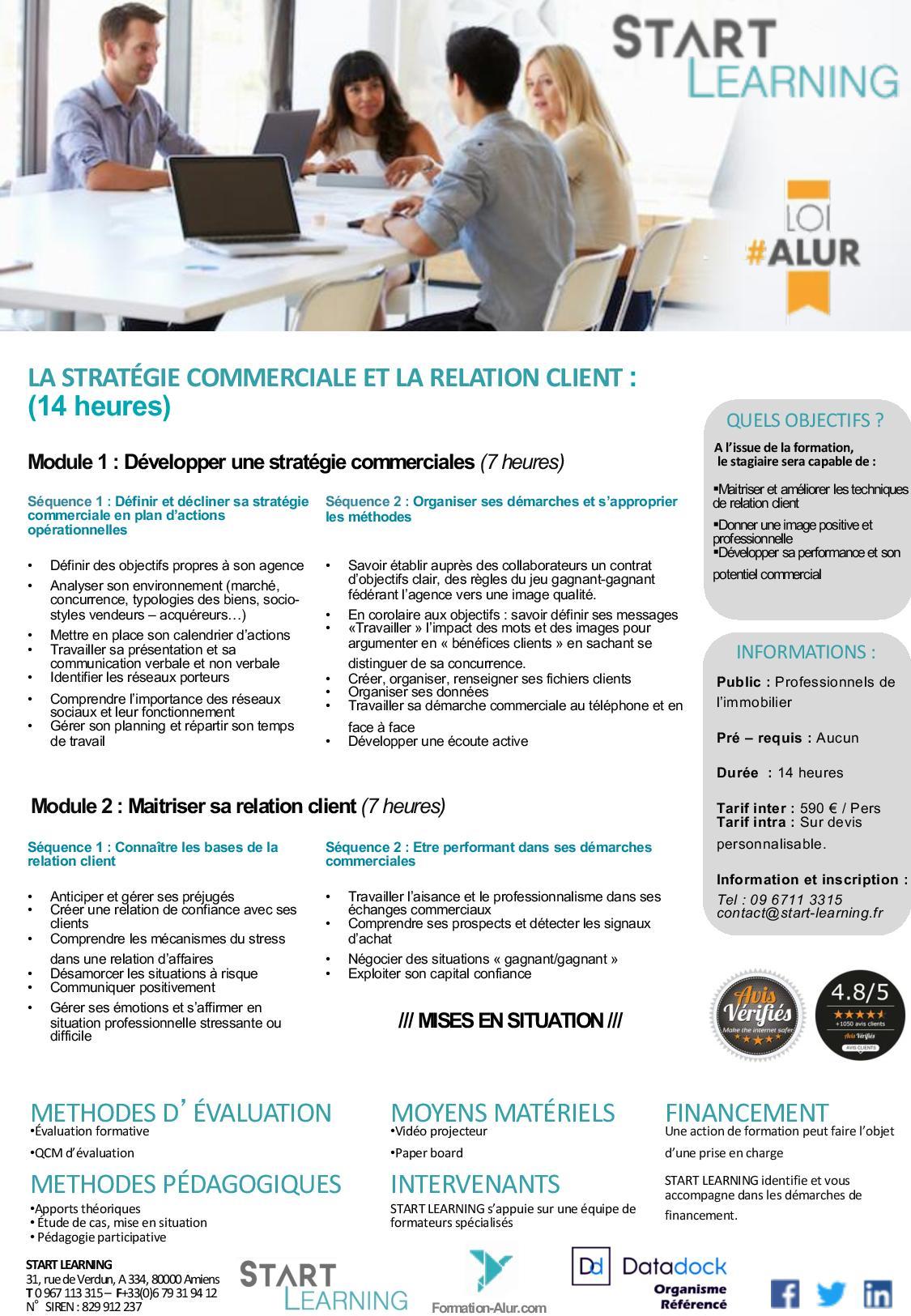 Programme Formation alur agent immobilier - Stratégie commerciale et Relation client (2J)