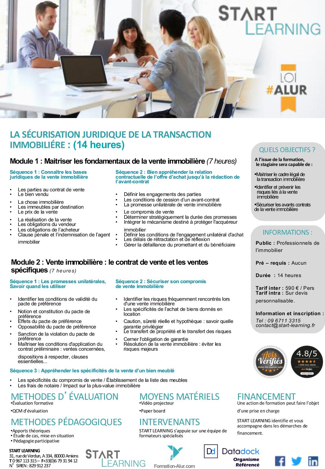 Programme Formation alur agent immobilier- Transaction (2J)