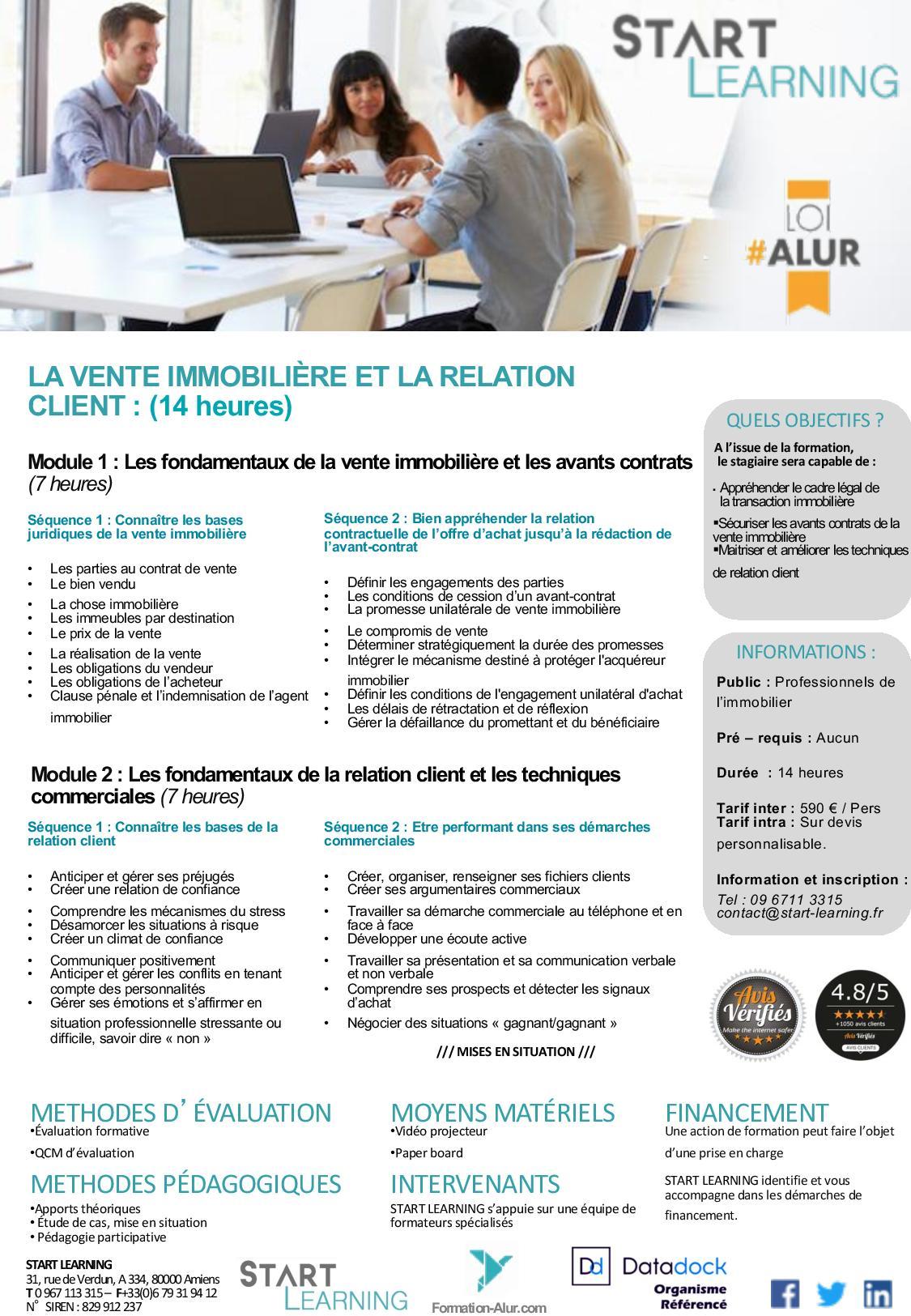 Programme Formation alur agents immobiliers - Vente immobilière et Relation client (2J)