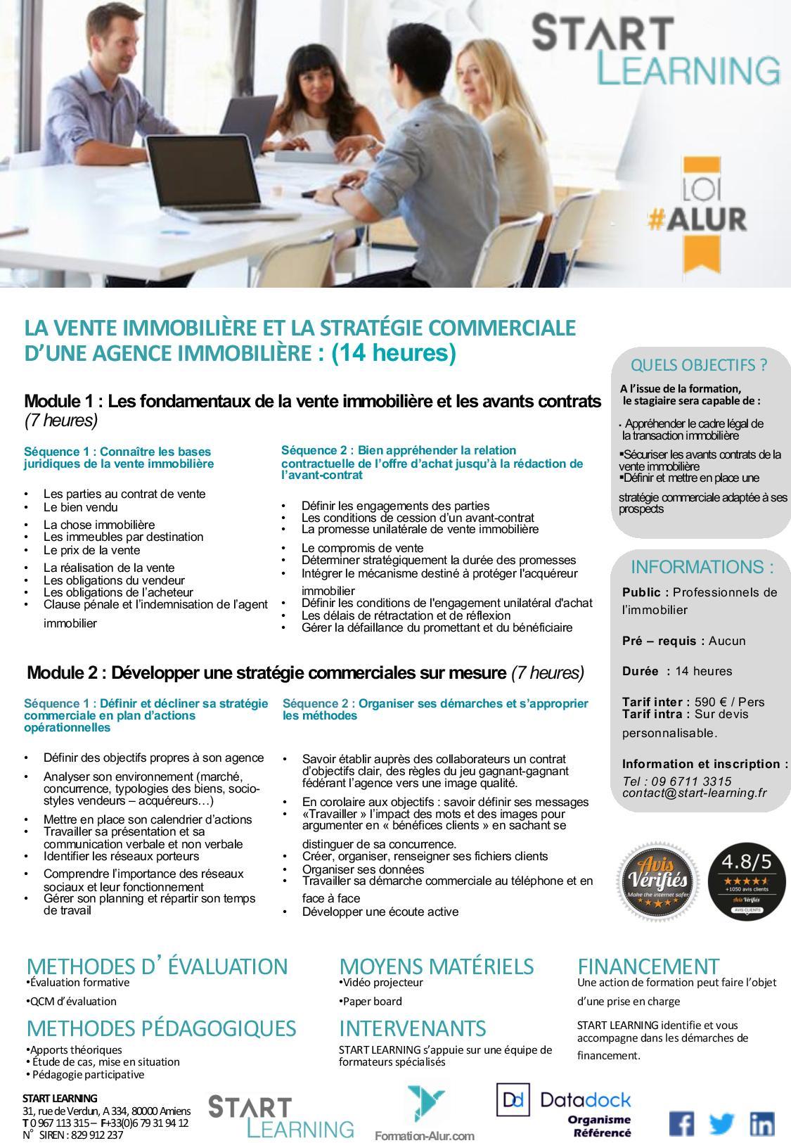 Programme Formation alur agents immobiliers - Vente immobilière et Stratégie commerciale (2J)